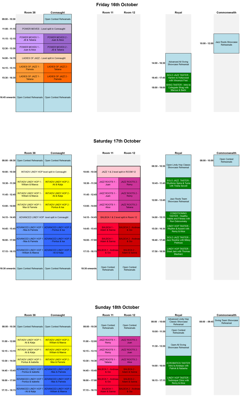 2015 Class & Rehearsal Schedule