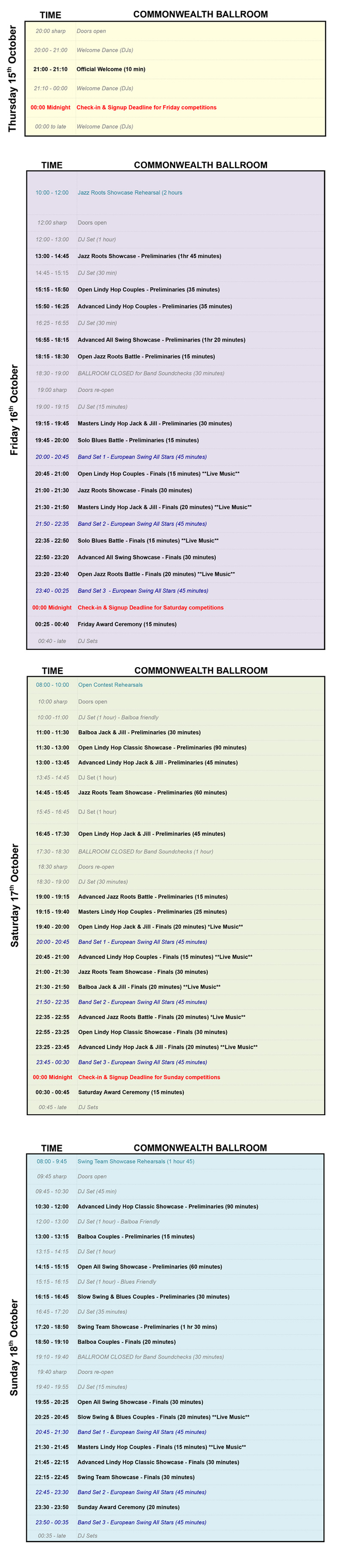 Commonwealth Ballroom Schedule