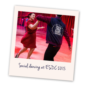Polaroid - wearing ESDC jacket social dancing