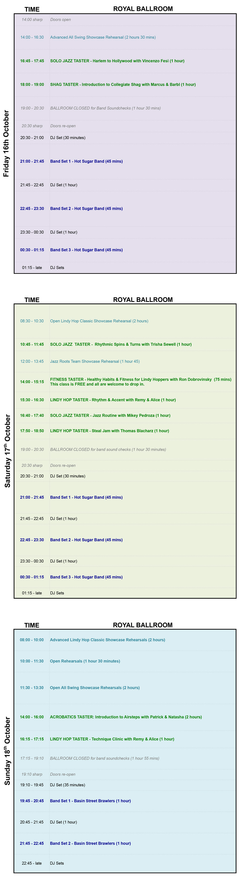 Royal Ballroom Schedule